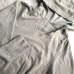 Aerie Light Grey Cropped V Neck Hoodie